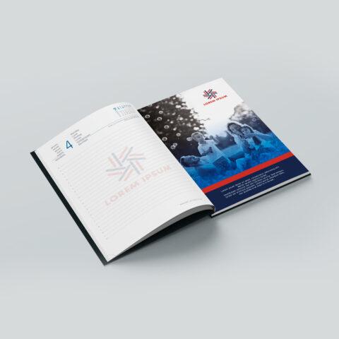 Ένθεση σελίδων στην αρχή, στο τέλος ή ενδιάμεσα της ύλης του ημερολογίου ή σημειωματάριου με τετράχρωμη offset εκτύπωση και βιβλιοδεσία με ραφή, με την οποία ενσωματώνεται η καταχώρηση στο βιβλίο και διασφαλίζεται το αποτέλεσμα.