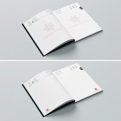 Εκτύπωση offset με χρώματα επιλογής λογότυπου στο κάτω μέρος κάθε σελίδας ή σε ολόκληρη τη σελίδα του ημερολόγιου ή σημειωματάριου με υδατογράφημα. Δυνατότητα εκτύπωσης διαφορετικών μηνυμάτων ανά 8 ή 16 σελίδες.