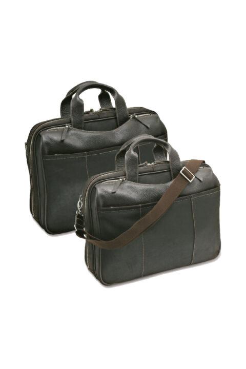 δερμάτινη τσάντα με θήκη laptop, εσωτερικές και εξωτερικές θήκες.