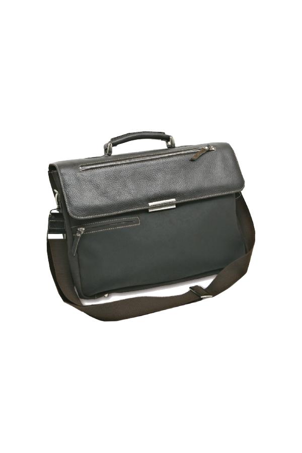 δερμάτινη τσάντα με εσωτερικές και εξωτερικές θήκες.