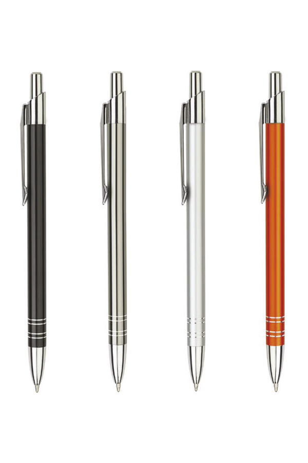 στυλό με ελατήριο από λακαριστό μέταλλο, λεπτομέρειες από αλουμίνιο, σε 10 χρώματα