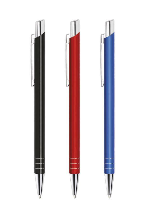 στυλό με ελατήριο από λακαριστό μέταλλο, λεπτομέρειες από αλουμίνιο, σε 8 χρώματα