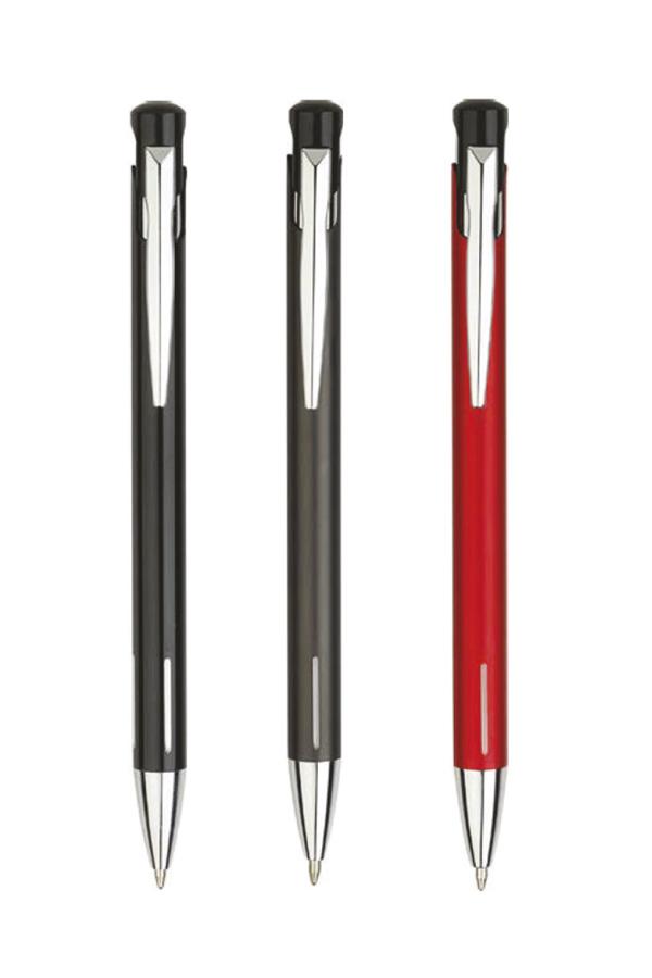 στυλό με ελατήριο από λακαριστό μέταλλο, λεπτομέρειες από αλουμίνιο, σε 5 χρώματα