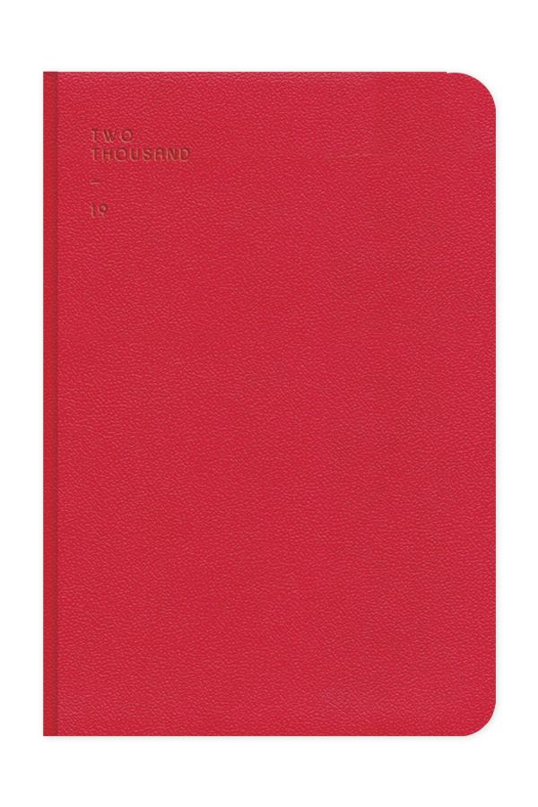 ημερολόγιο 2019 με βελούδινη υφή κόκκινο σε προσφορά, σκληρό εξώφυλλο με πυρογραφία, κλασσική βιβλιοδεσία με στρογγυλεμένες γωνίες