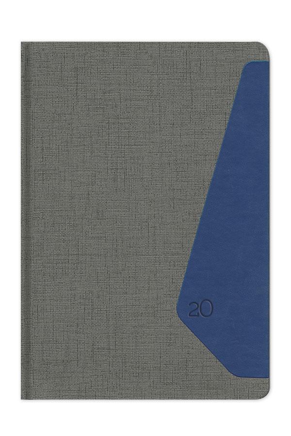 ημερολόγιο 2020 δίχρωμο με υφή καμβά και δέρματος, στρογγυλεμές γωνίες