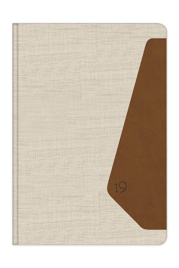 ημερολόγιο 2019 δίχρωμο με σκληρό εξώφυλλο, δερμάτινη και υφασμάτινη υφή, κλασσική βιβλιοδεσία, στρογγυλεμένες γωνίες