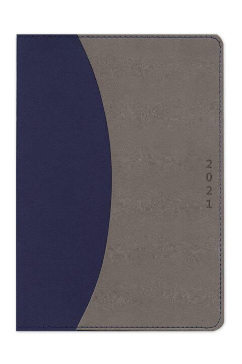 Ημερολόγιο εύκαμπτο με δερμάτινη υφή και εξωτερική θήκη εγγράφων, στρογγυλεμένες γωνίες