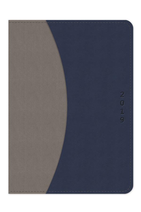 ημερολόγιο 2019 δίχρωμο με εύκαμπτο εξώφυλλο, δερμάτινη υφή, ραφή, χειροποίητη βιβλιοδεσία, εξωτερική θήκη εγγράφων, στρογγυλεμένες γωνίες