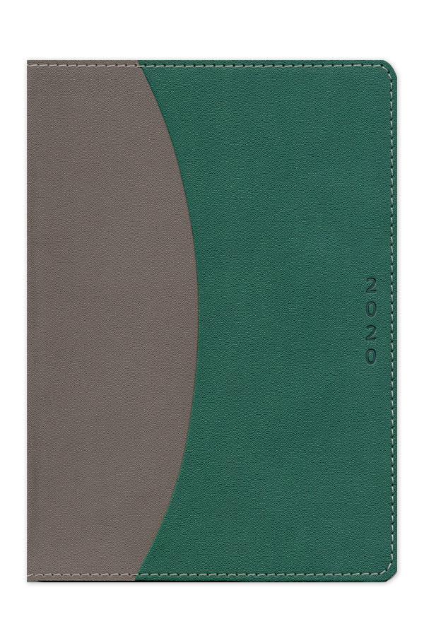 ημερολόγιο 2020 δίχρωμο με εύκαμπτη χειροποίητη βιβλιοδεσία,περιμετρική ραφή, στρογγυλεμένες γωνίες και εξωτερική θήκη εγγράφων