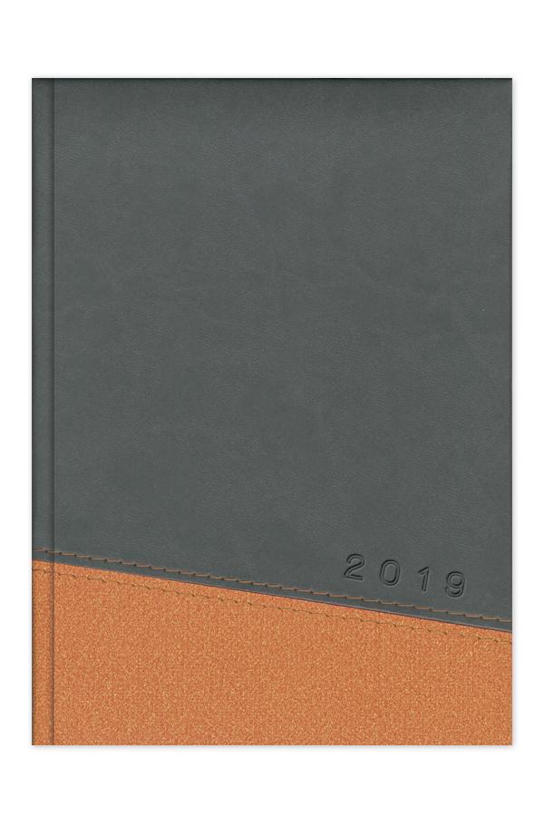 ημερολόγιο 2019 δίχρωμο με ραφή, εξώφυλλο με αφρολέξ, δερμάτινη και υφασμάτινη υφή, κλασσική βιβλιοδεσία με ορθές γωνίες