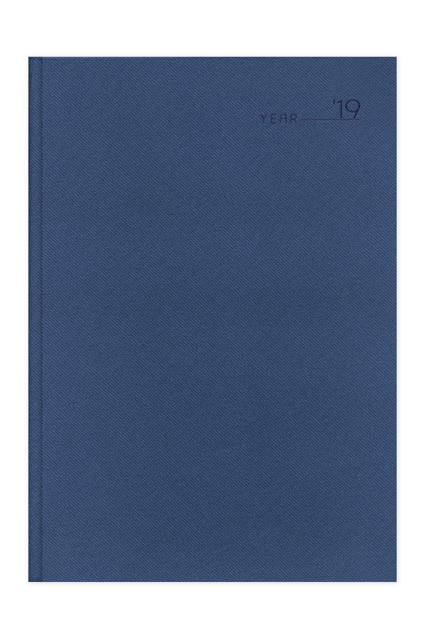 ημερολόγιο 2019 με υφασμάτινη υφή σε προσφορά, σκληρό εξώφυλλο με πυρογραφία, μπλε και γκρι χρώμα, κλασσική βιβλιοδεσία με ορθές γωνίες
