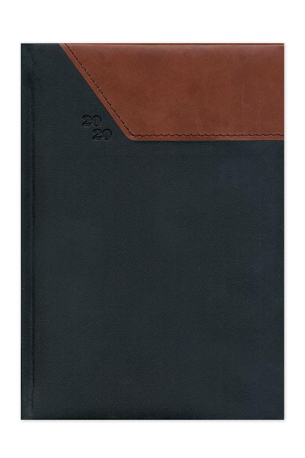 ημερολόγιο 2020 δίχρωμο με ραφή, υφή δέρματος, κλασσική βιβλιοδεσία