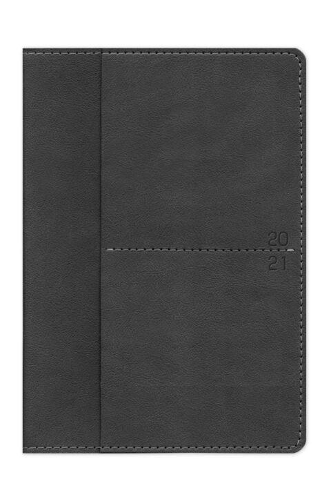 ημερολόγιο 2021 με εύκαμπτο εξώφυλλο, δερμάτινη υφή, ραφή, χειροποίητη βιβλιοδεσία, εξωτερική θήκη καρτών και μικρών εντύπων, στρογγυλεμένες γωνίες