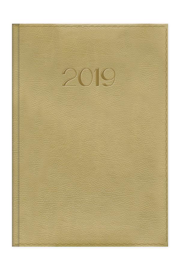 ημερολόγιο 2019 ημερήσιο με δερμάτινη υφή και ραφή σε προσφορά μπλε και μπέζ, εξώφυλλο με αφρολέξ και πυρογραφία, κλασσική βιβλιοδεσία με ορθές γωνίες