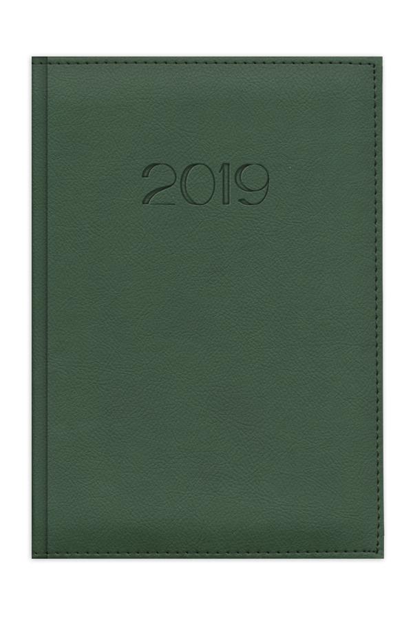ημερολόγιο 2019 με ραφή, εξώφυλλο με αφρολέξ, δερμάτινη υφή, κλασσική βιβλιοδεσία