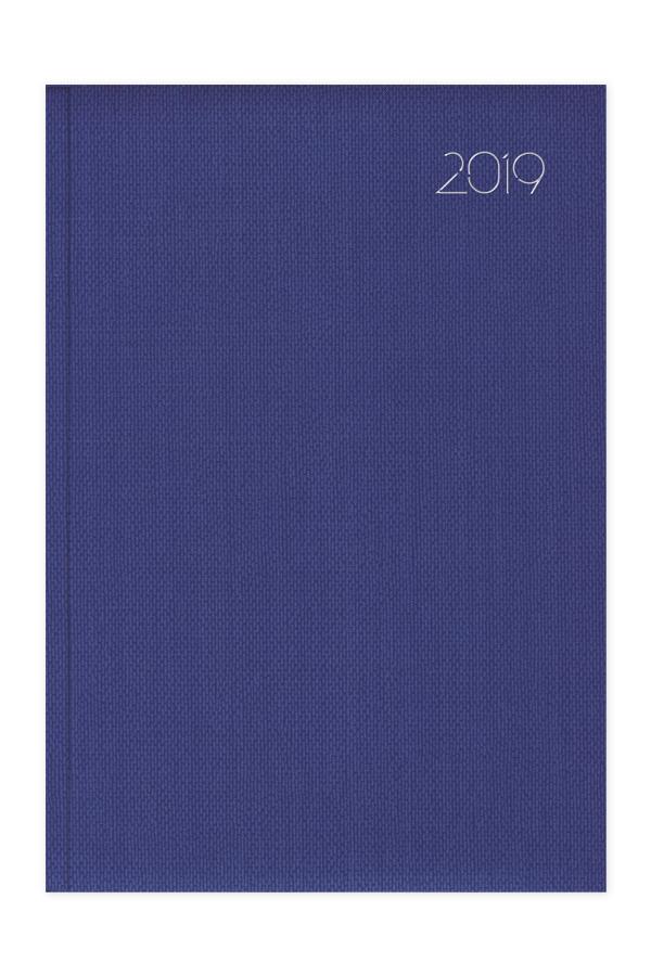 ημερολόγιο 2019 με υφασμάτινη υφή σε προσφορά, εξώφυλλο με αφρολέξ και ασημοτυπία, μπλε και κόκκινο, κλασσική βιβλιοδεσία με ορθές γωνίες