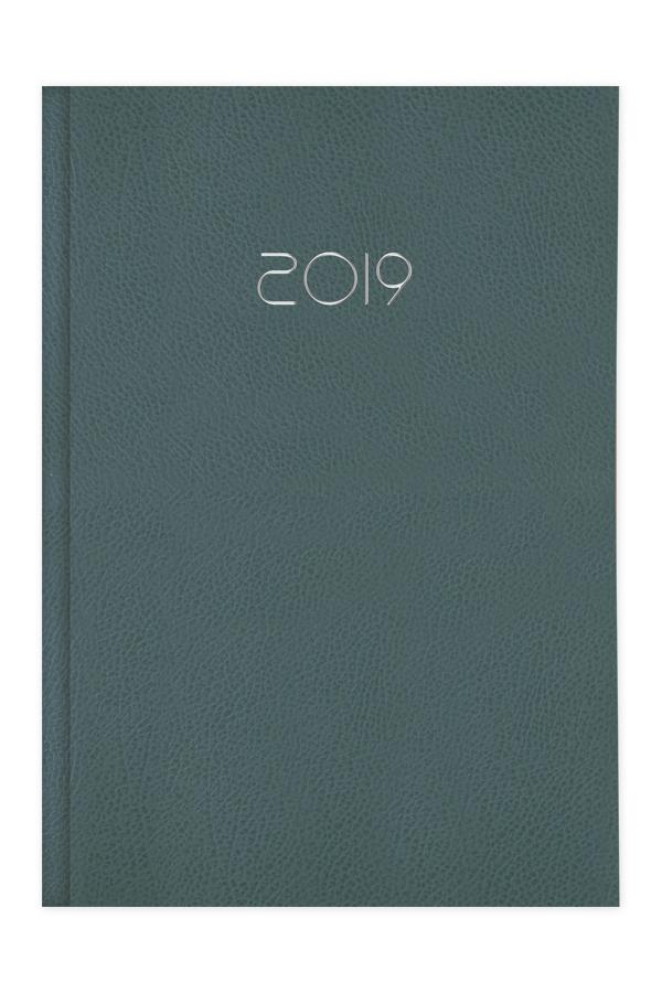 ημερολόγιο 2019 με ανάγλυφη δερμάτινη υφή, ταμπά και πράσινο σε προσφορά, εξώφυλλο με αφρολέξ και ασημοτυπία, κλασσική βιβλιοδεσία με ορθές γωνίες