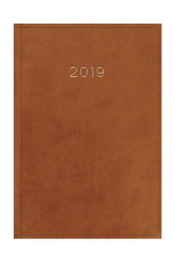 ημερολόγιο 2019 με γυαλιστερή λεία υφή και ραφή, ταμπά σε προσφορά, εξώφυλλο με αφρολέξ και ασημοτυπία, κλασσική βιβλιοδεσία με ορθές γωνίες