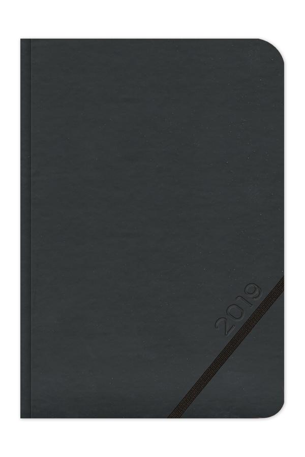 ημερολόγιο 2019 με σκληρό εξώφυλλο, δερμάτινη λεία υφή, διαγώνιο λαστιχάκι που συγκρατεί στυλό