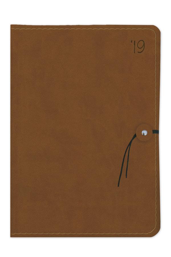 ημερολόγιο 2019 με εύκαμπτο εξώφυλλο, δερμάτινη υφή, κορδονάκι, ραφή, χειροποίητη βιβλιοδεσία