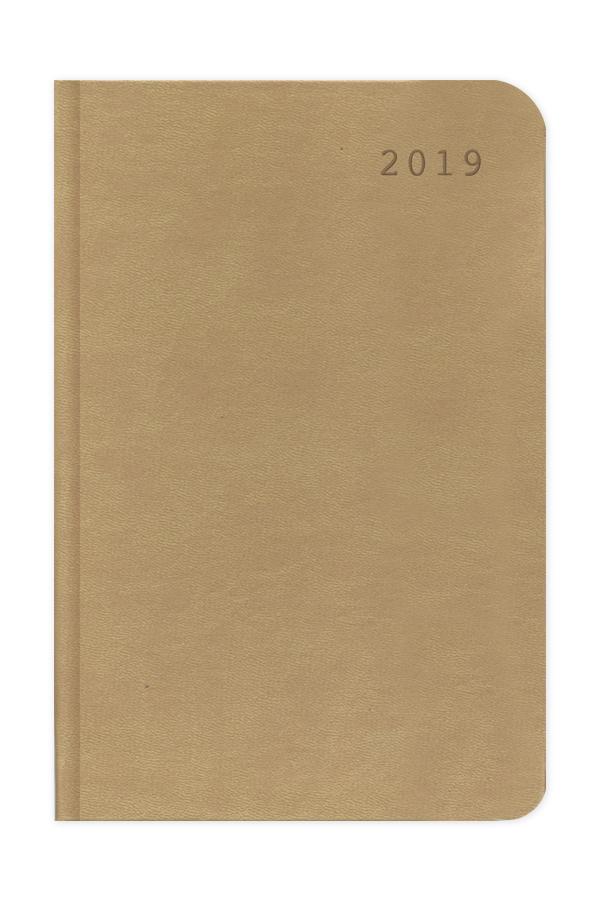 ημερολόγιο 2019 με δερμάτινη υφή μπέζ και mocca σε προσφορά, σκληρό εξώφυλλο με πυρογραφία, κλασσική βιβλιοδεσία με στρογγυλεμένες γωνίες