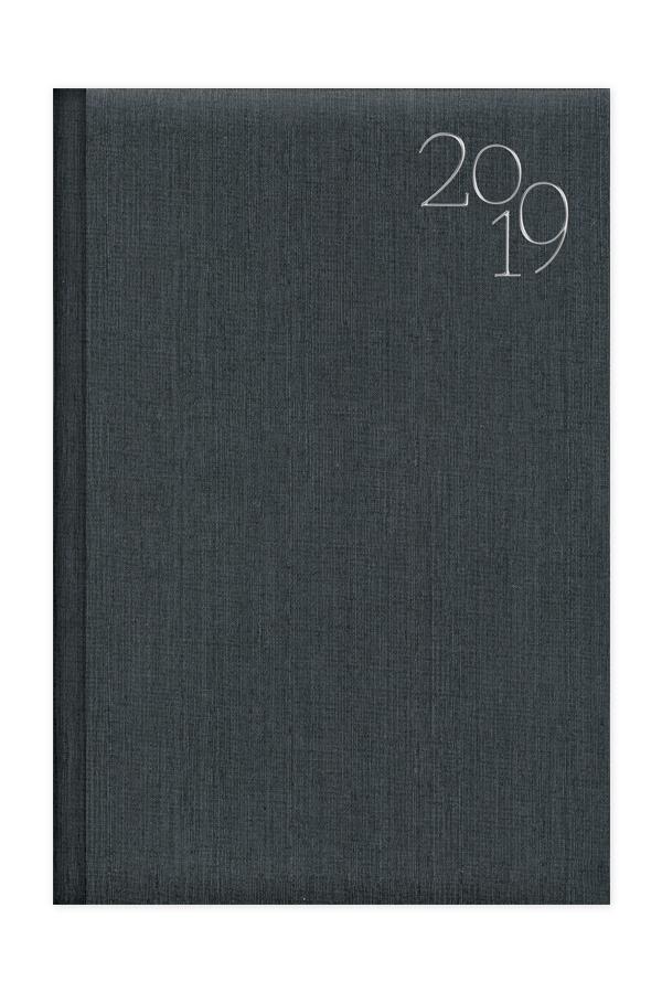 ημερολόγιο 2019 με υφασμάτινη υφή σε προσφορά, εξώφυλλο με αφρολέξ και ασημοτυπία, μπλε, ανθρακί, κόκκινο και καφέ, κλασσική βιβλιοδεσία με ορθές γωνίες