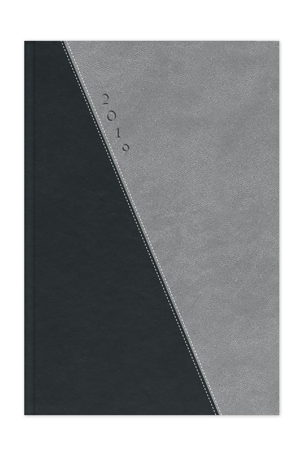 ημερολόγιο 2019 δίχρωμο με ραφή, εξώφυλλο με αφρολέξ, δερμάτινη υφή, κλασσική βιβλιοδεσία με ορθές γωνίες