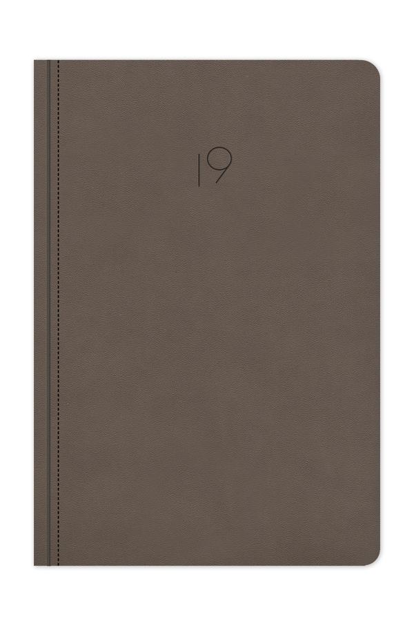 ημερολόγιο 2019 με εύκαμπτο εξώφυλλο, δερμάτινη υφή, ραφή, εύκαμπτη βιβλιοδεσία