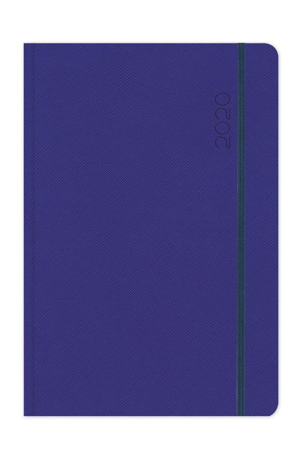 ημερολόγιο 2020 με ανάγλυφη υφή, στρογγυλεμένες γωνίες και λαστιχάκι σε χρώματα ανθρακί, μπλε και κόκκινο