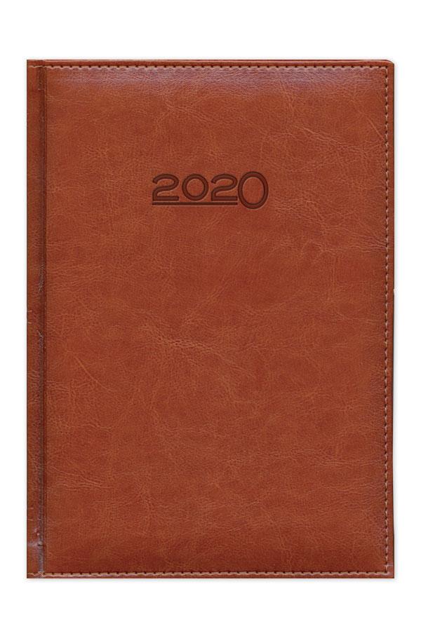 ημερολόγιο 2020 με δερμάτινη υφή, κλασσική βιβλιοδεσία, περιμετρική ραφή και καλλιτεχνική λεπτομέρεια στην ράχη