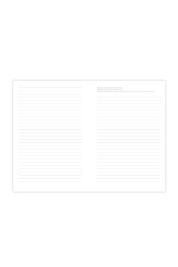 σημειωματάριο με αρίθμηση έτους και μήνα