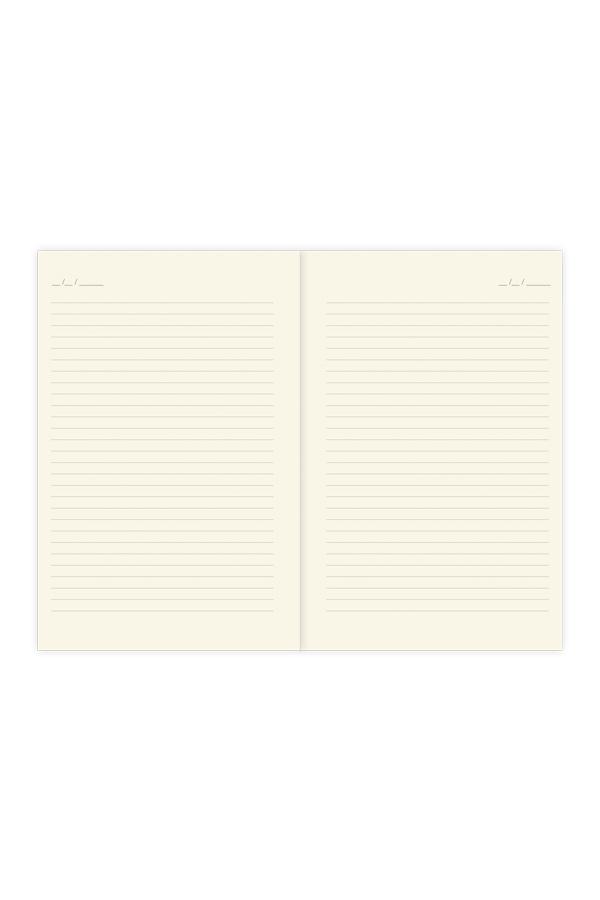 εσωτερικό σημειωματαρίου σαμουά με date