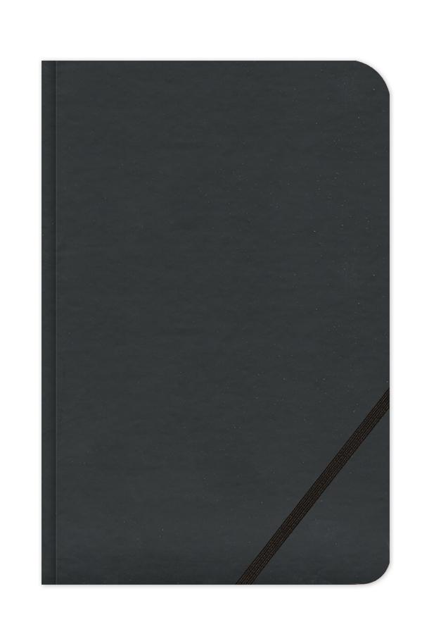σημειωματάριο με δερμάτινη υφή και διαγώνιο λαστιχάκι που συγκρατεί στυλό, κλασσική βιβλιοδεσία με στρογγυλεμένες γωνίες, εκτύπωση πυρογραφία
