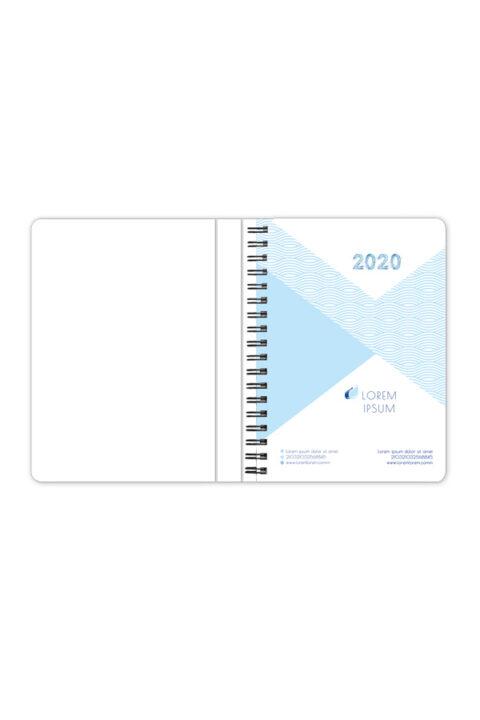 ημερολόγιο με έγχρωμο εύκαμπτο εξώφυλλο, ειδικό σχεδιασμό και κρυφό spiral. Spiral βιβλιοδεσία, στρογγυλεμένες γωνίες, χρώμα spiral μαύρο ή ασημί