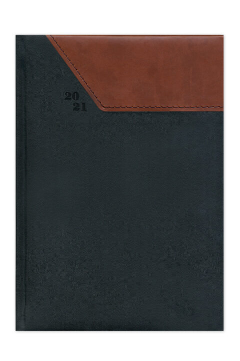 ημερολόγιο 2021 δίχρωμο με ραφή, εξώφυλλο με αφρολέξ, δερμάτινη και υφασμάτινη υφή, κλασσική βιβλιοδεσία με ορθές γωνίες, ημερήσιο ή εβδομαδιαίο