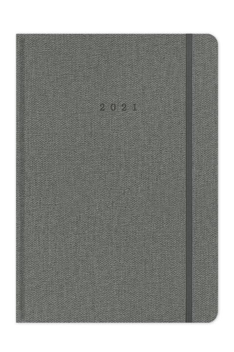 Ημερολόγιο 2021 με σκληρό εξώφυλλο, λαστιχάκι, στρογγυλεμένες γωνίες και υφασμάτινη υφή