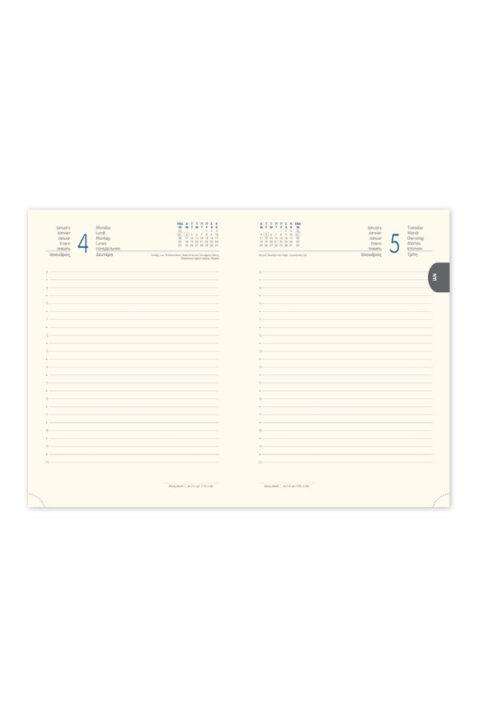 ημερήσιο ημερολόγιο 2021 σε υποκίτρινο χαρτί, με μηνιαίο δείκτη 14Χ21 & 17Χ25, καθημερινό εορτολόγιο, συνοπτικό πλάνο έτους, χάρτης